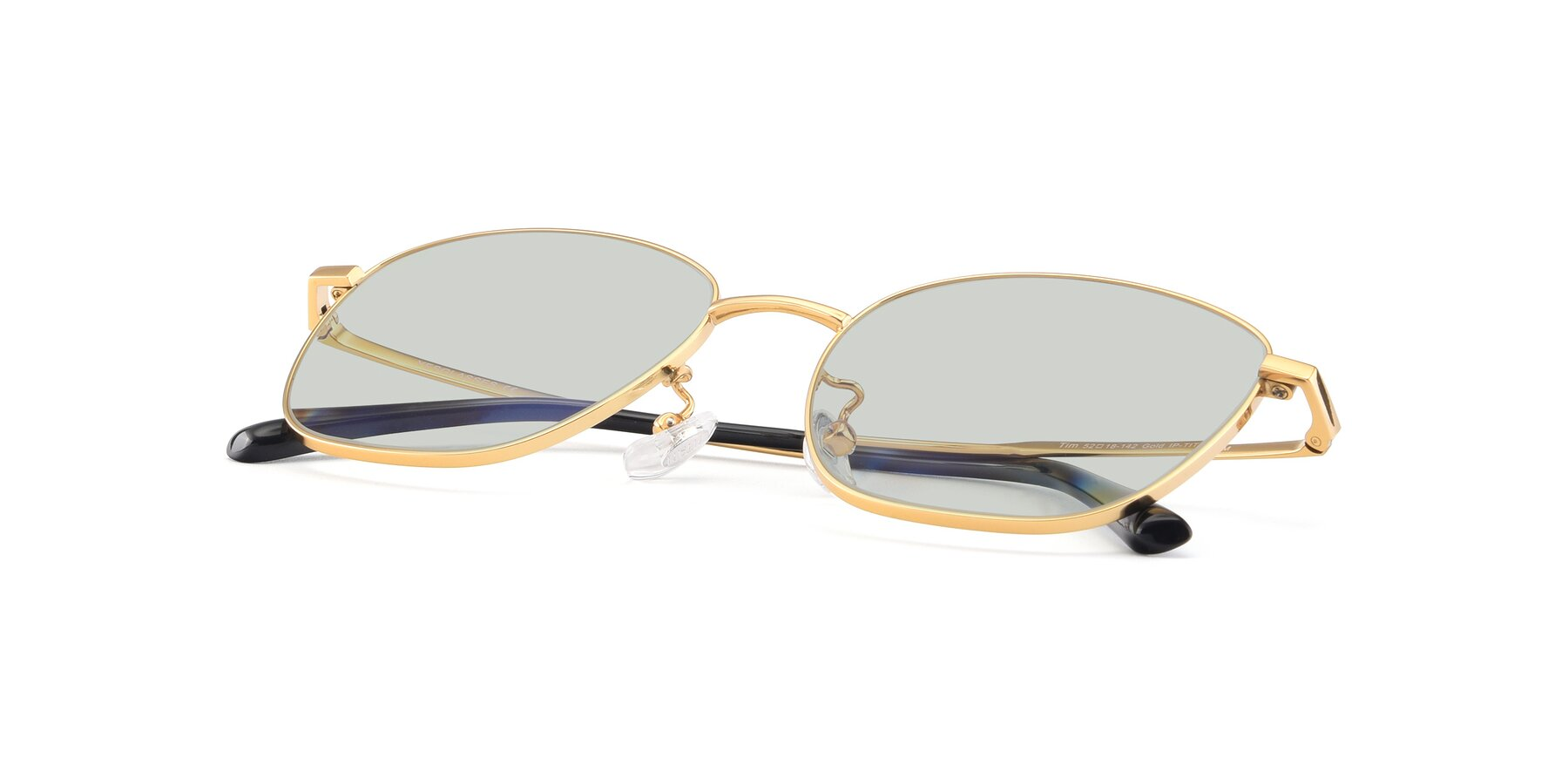 View of Tim in Gold with Light Green Tinted Lenses