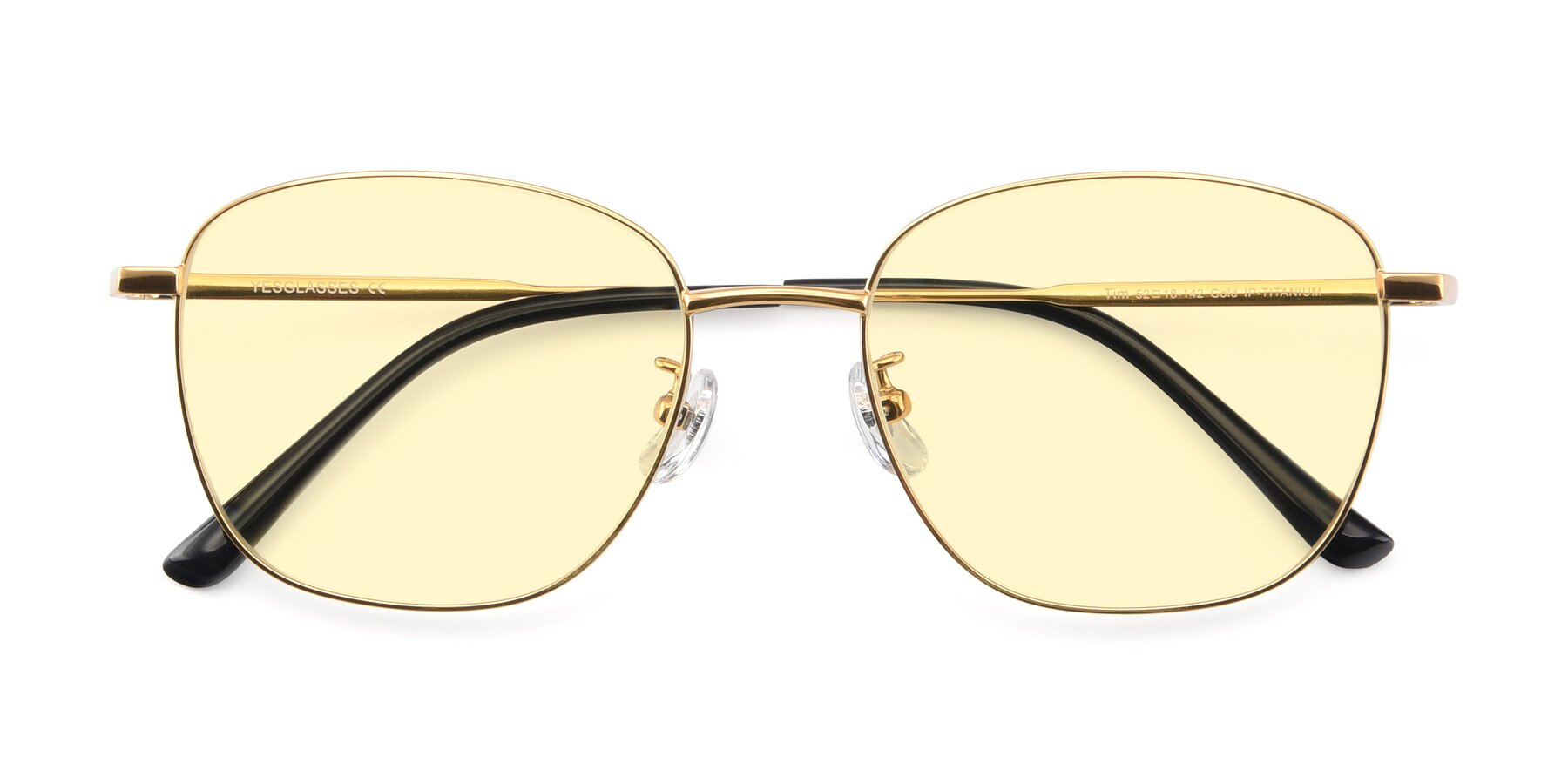 Folded Front of Tim in Gold with Light Yellow Tinted Lenses