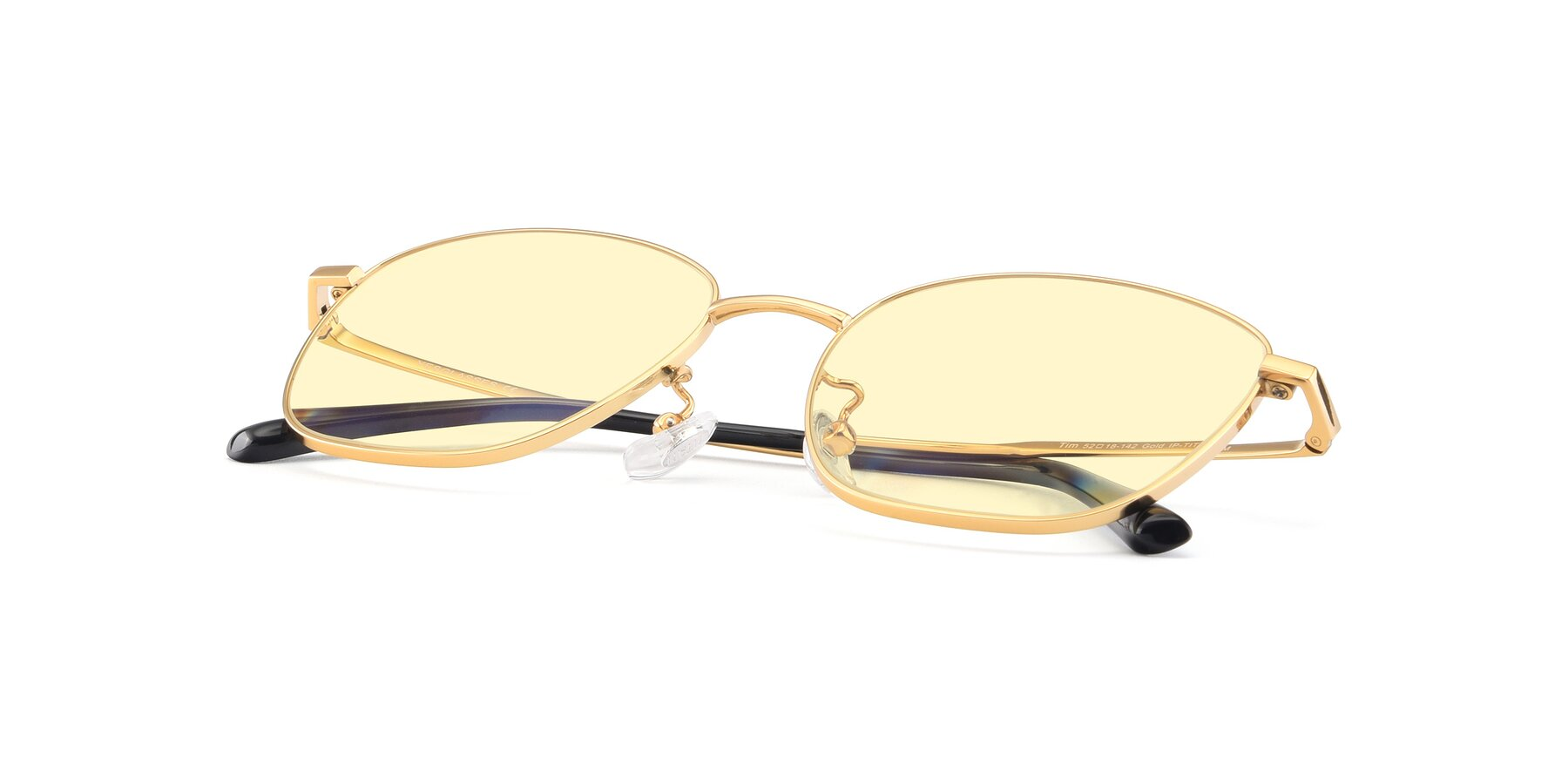 View of Tim in Gold with Light Yellow Tinted Lenses