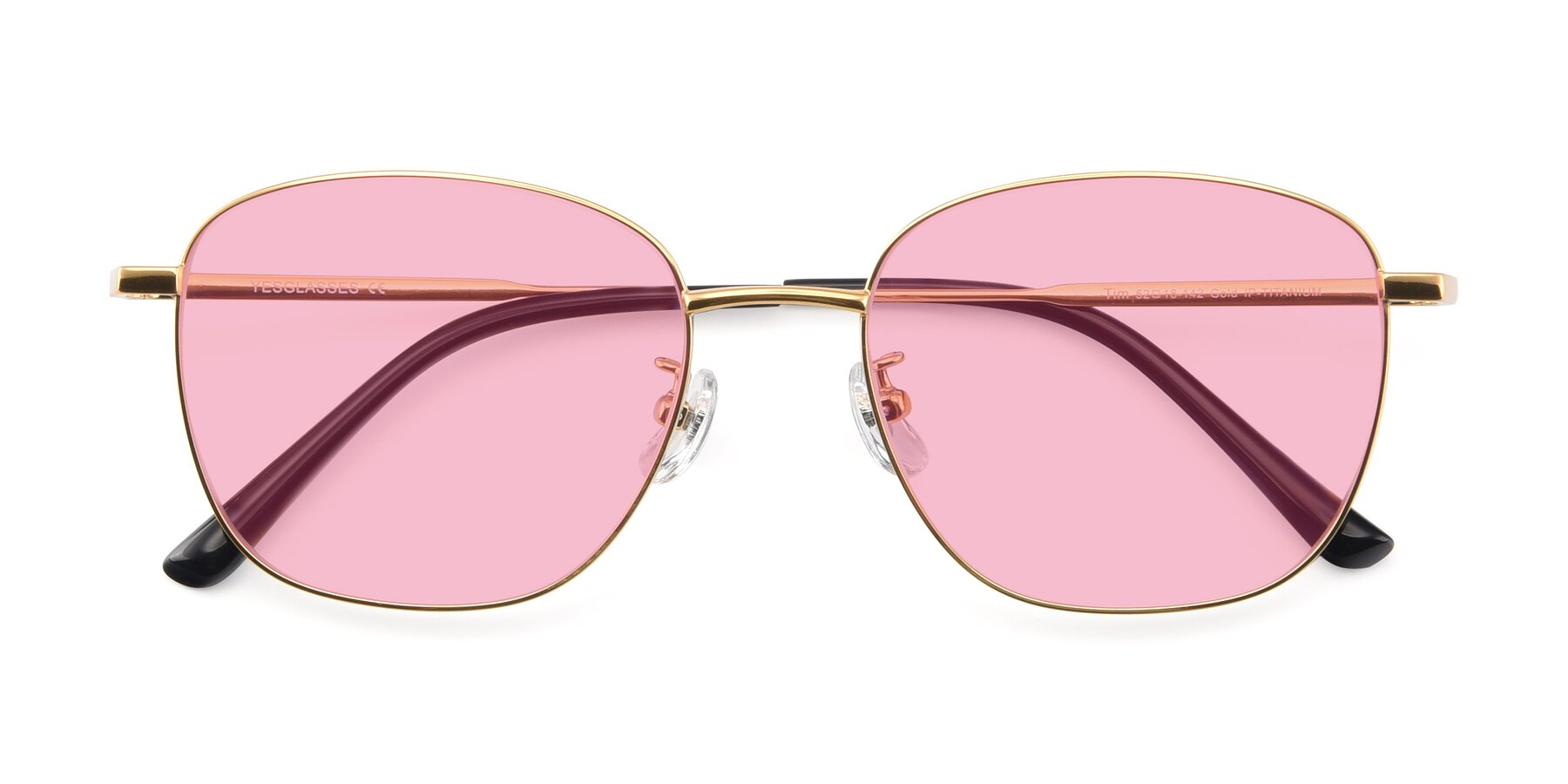 Folded Front of Tim in Gold with Medium Pink Tinted Lenses