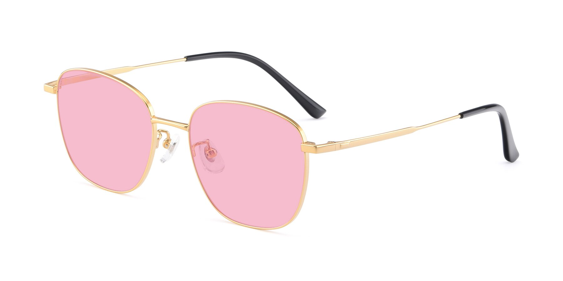 Angle of Tim in Gold with Medium Pink Tinted Lenses