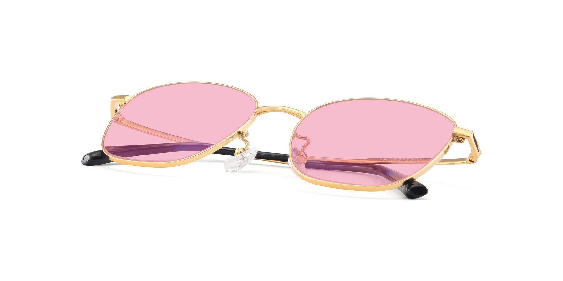 View of Tim in Gold with Medium Pink Tinted Lenses