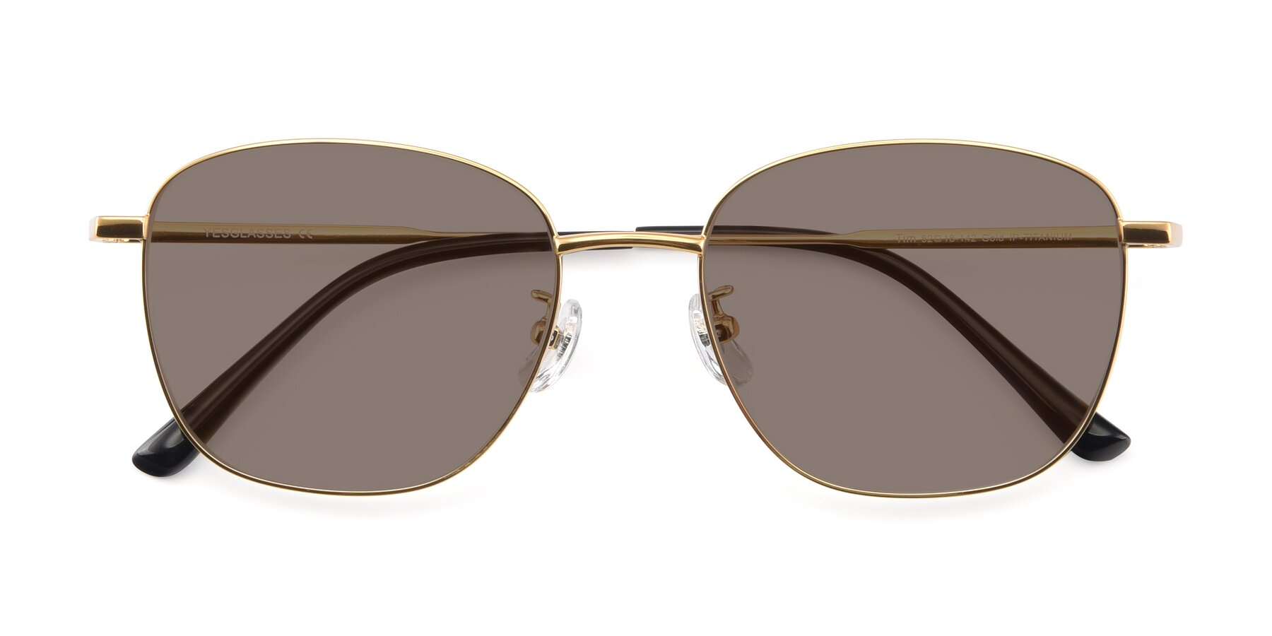 Folded Front of Tim in Gold with Medium Brown Tinted Lenses