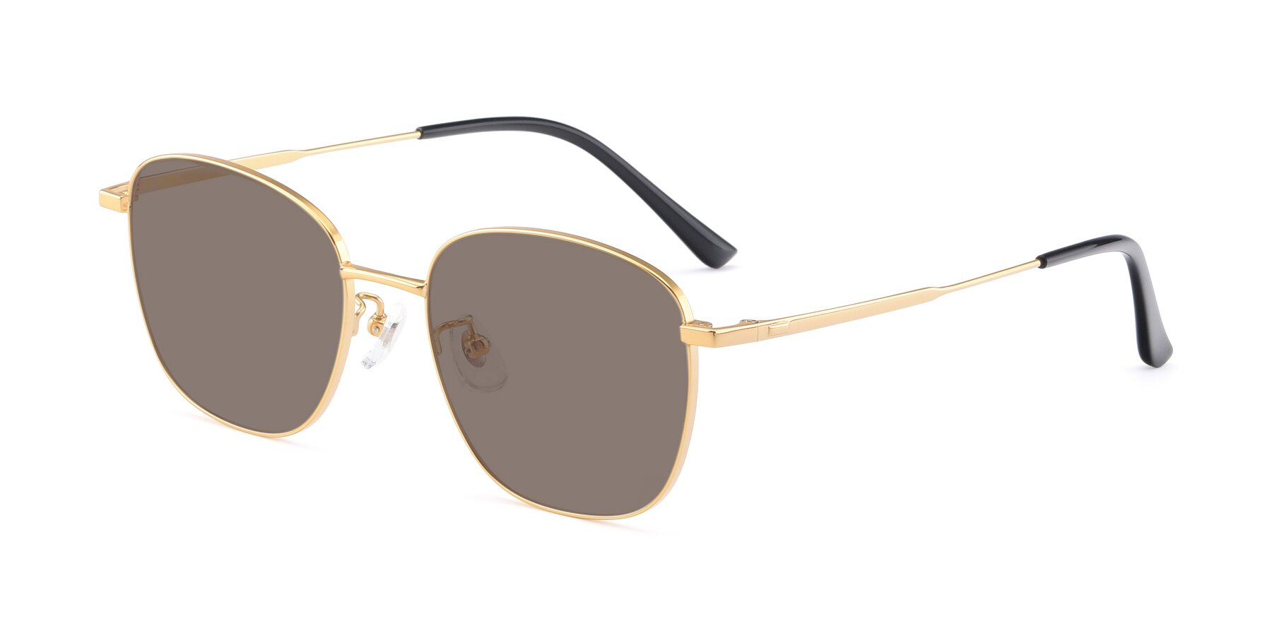 Angle of Tim in Gold with Medium Brown Tinted Lenses