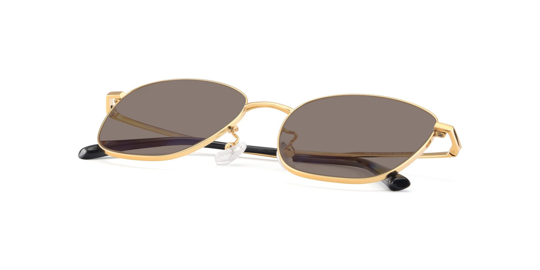 View of Tim in Gold with Medium Brown Tinted Lenses