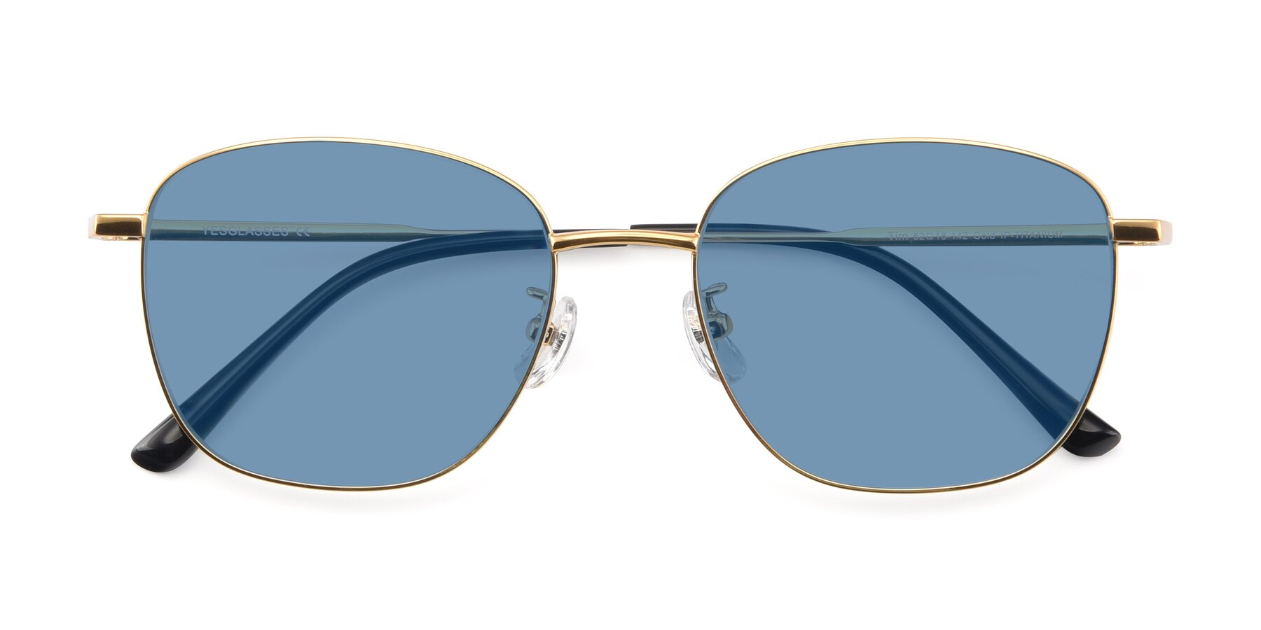 Folded Front of Tim in Gold with Medium Blue Tinted Lenses