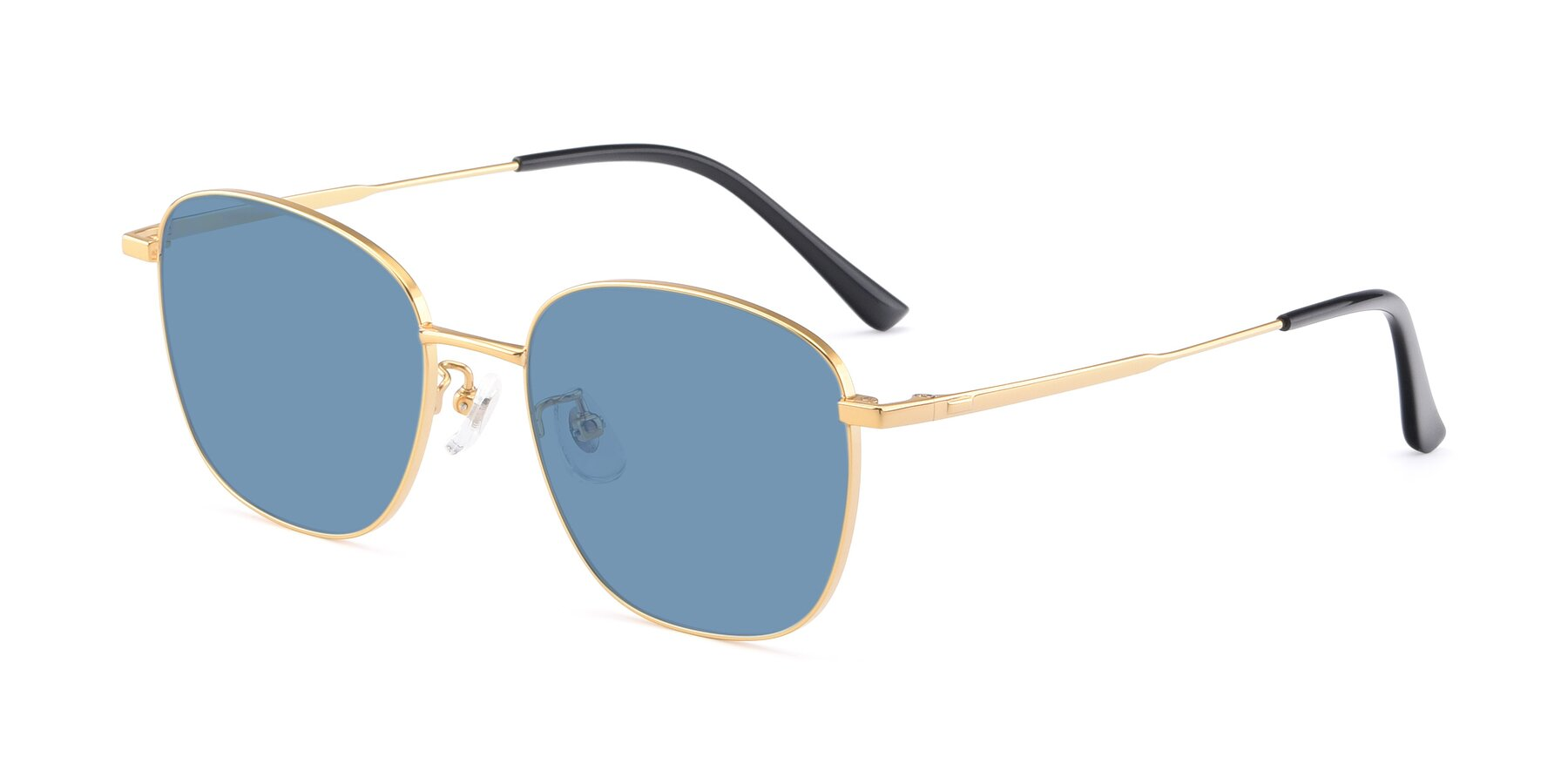 Angle of Tim in Gold with Medium Blue Tinted Lenses