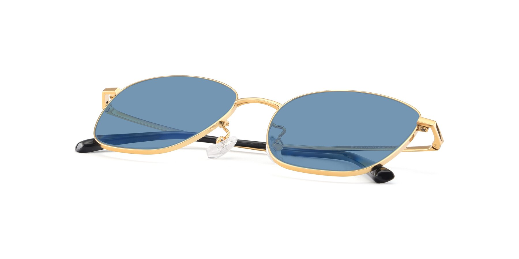 View of Tim in Gold with Medium Blue Tinted Lenses