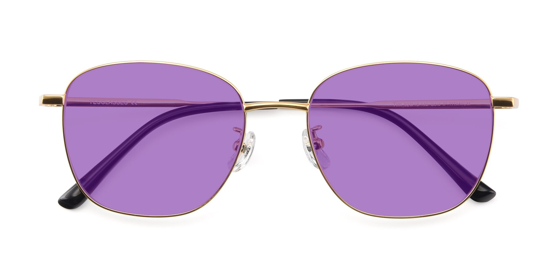 Folded Front of Tim in Gold with Medium Purple Tinted Lenses