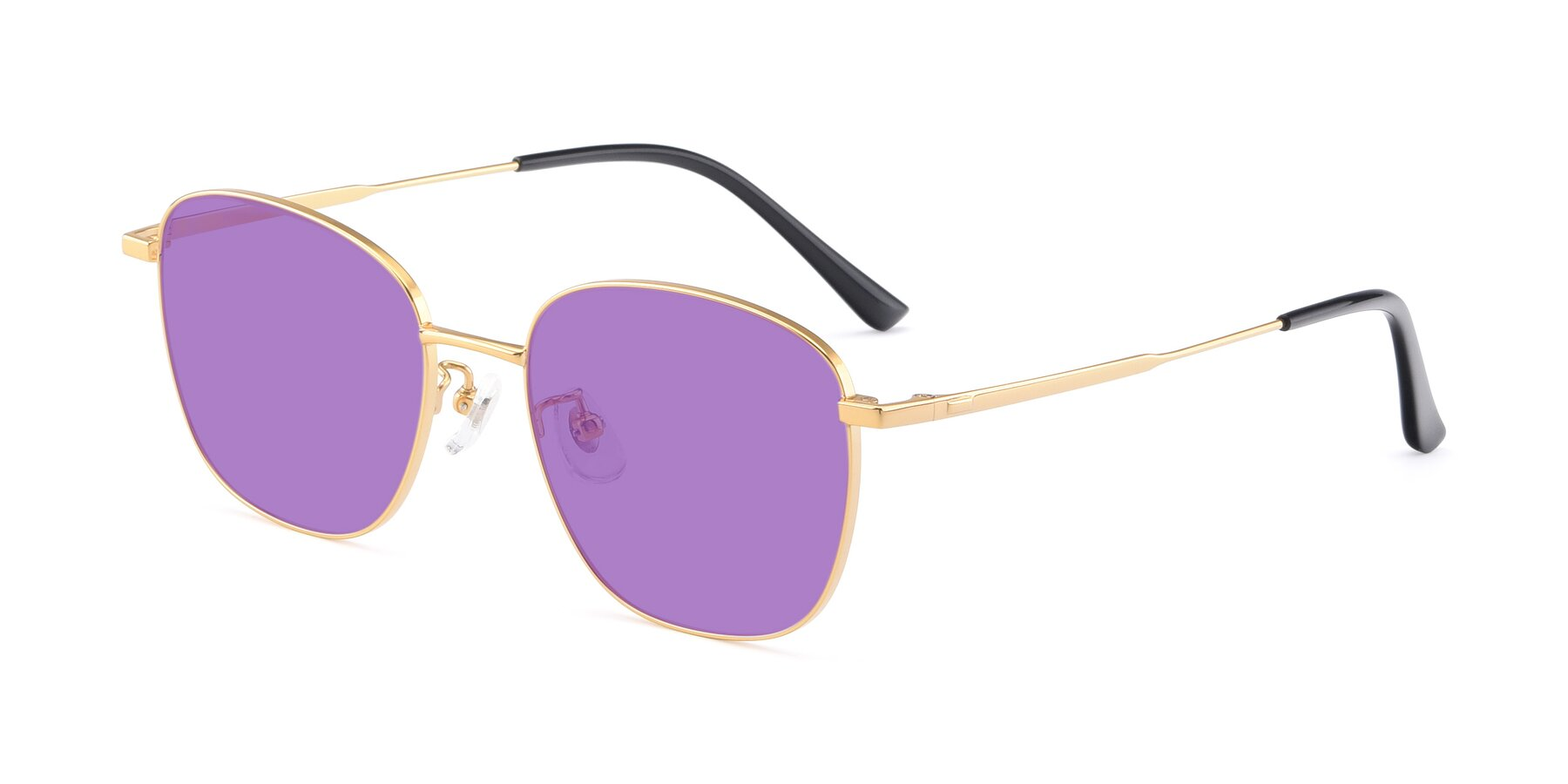 Angle of Tim in Gold with Medium Purple Tinted Lenses