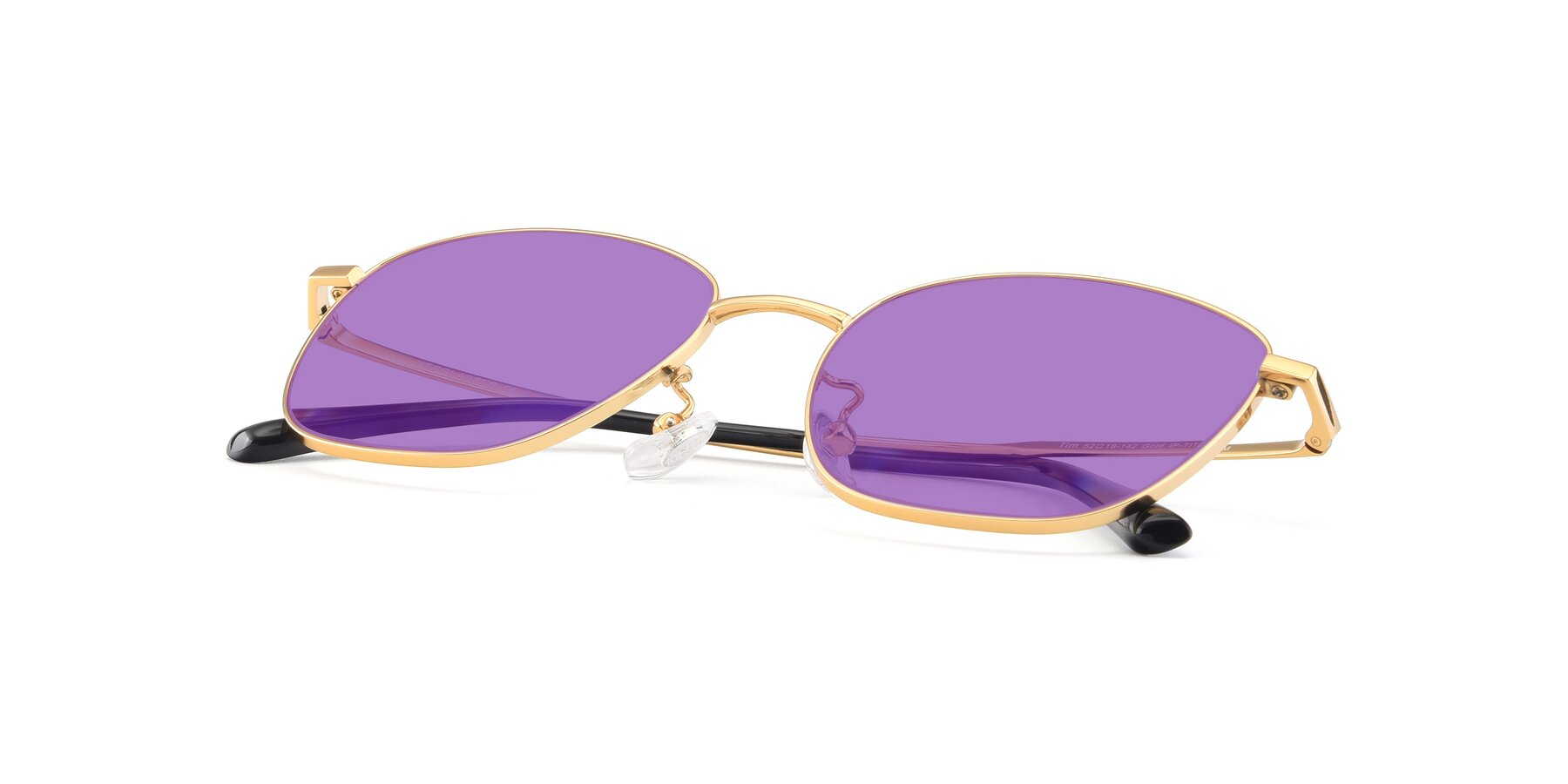 View of Tim in Gold with Medium Purple Tinted Lenses
