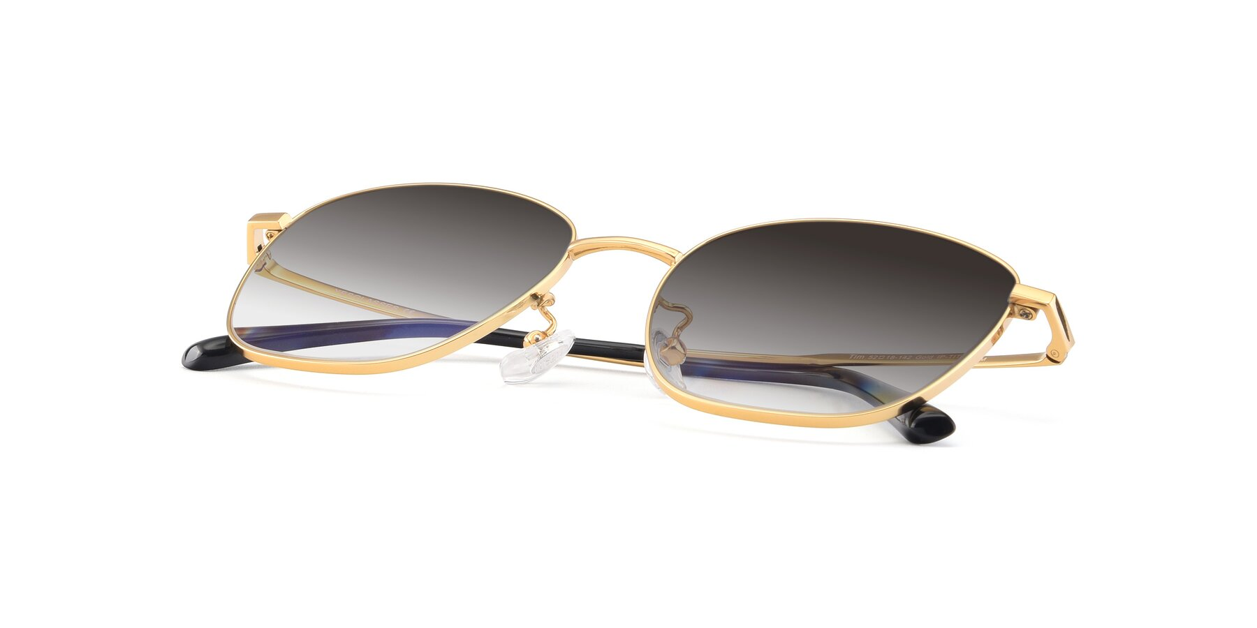 View of Tim in Gold with Gray Gradient Lenses