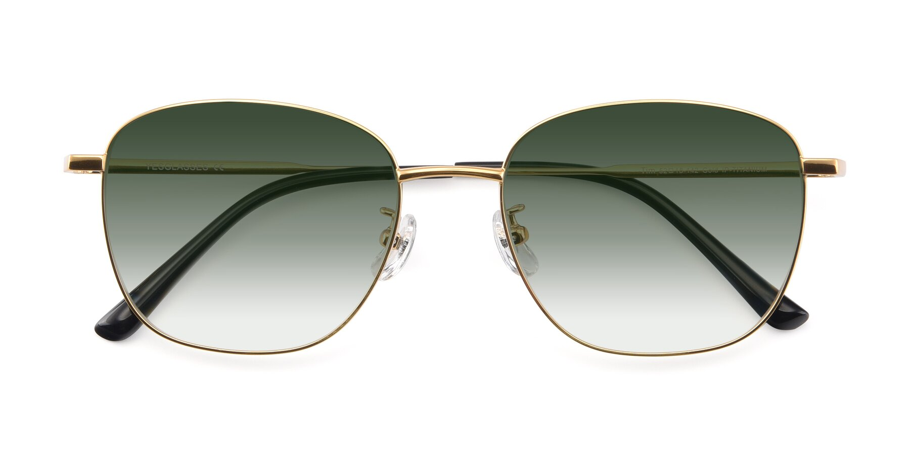 Folded Front of Tim in Gold with Green Gradient Lenses