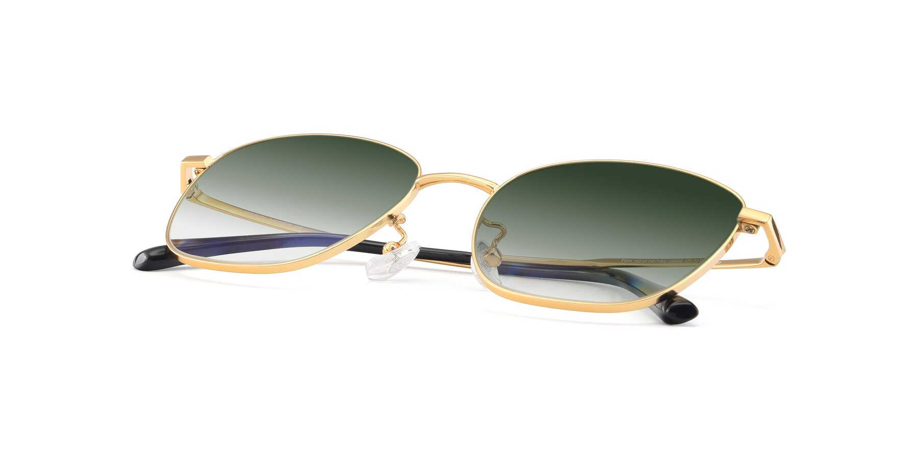 View of Tim in Gold with Green Gradient Lenses