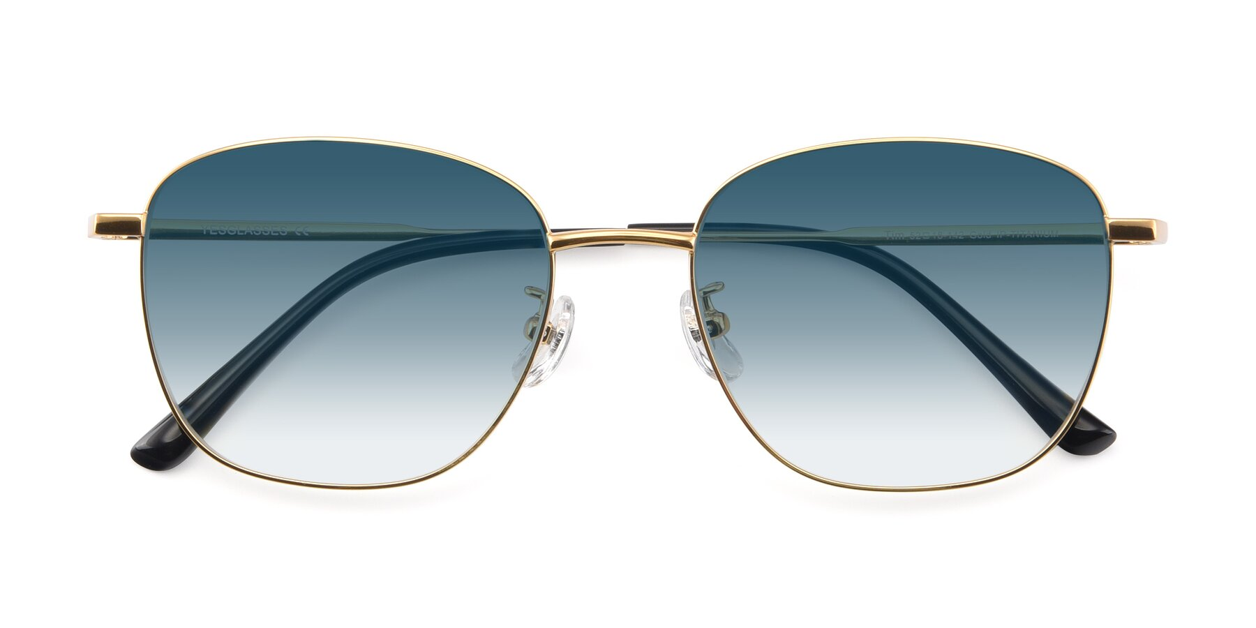 Folded Front of Tim in Gold with Blue Gradient Lenses