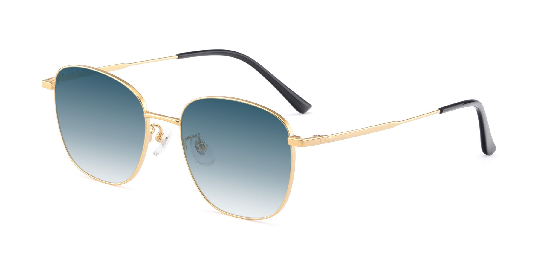 Angle of Tim in Gold with Blue Gradient Lenses