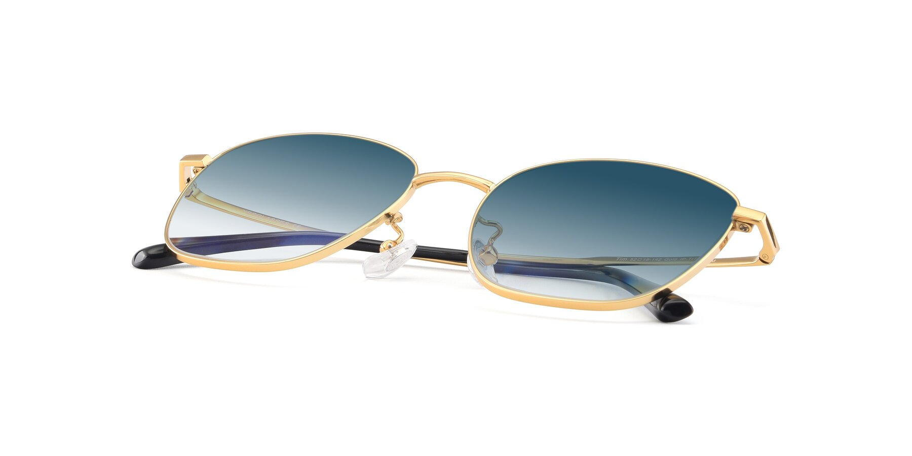 View of Tim in Gold with Blue Gradient Lenses