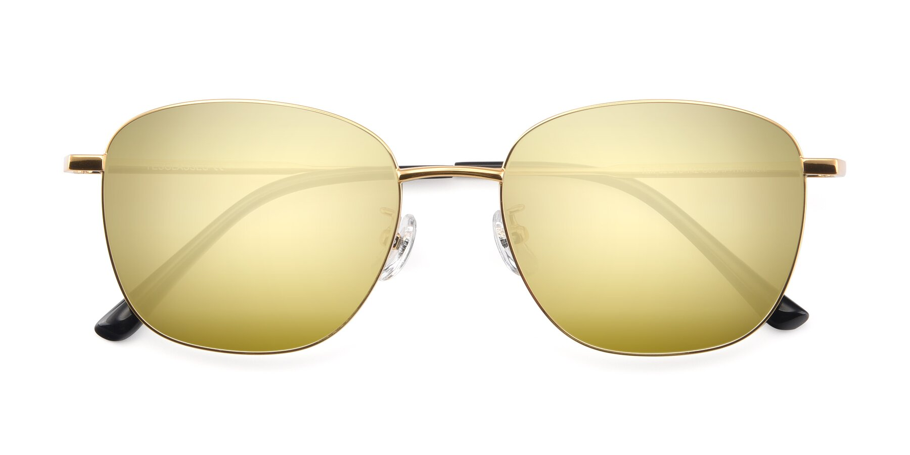 Folded Front of Tim in Gold with Gold Mirrored Lenses