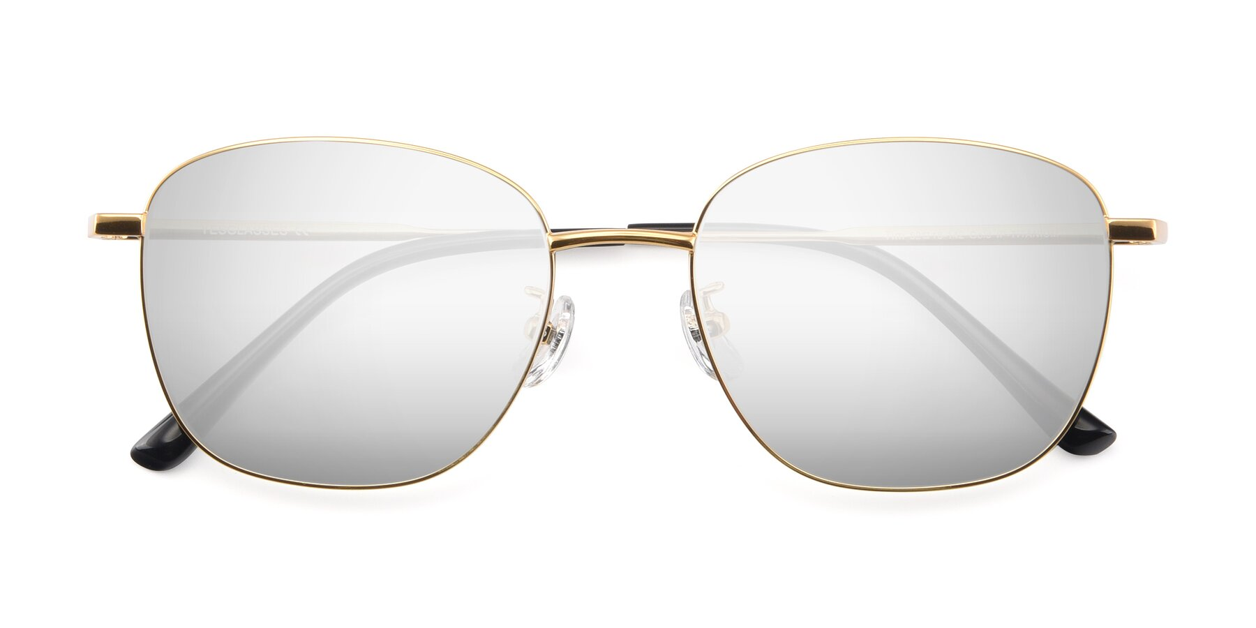 Folded Front of Tim in Gold with Silver Mirrored Lenses