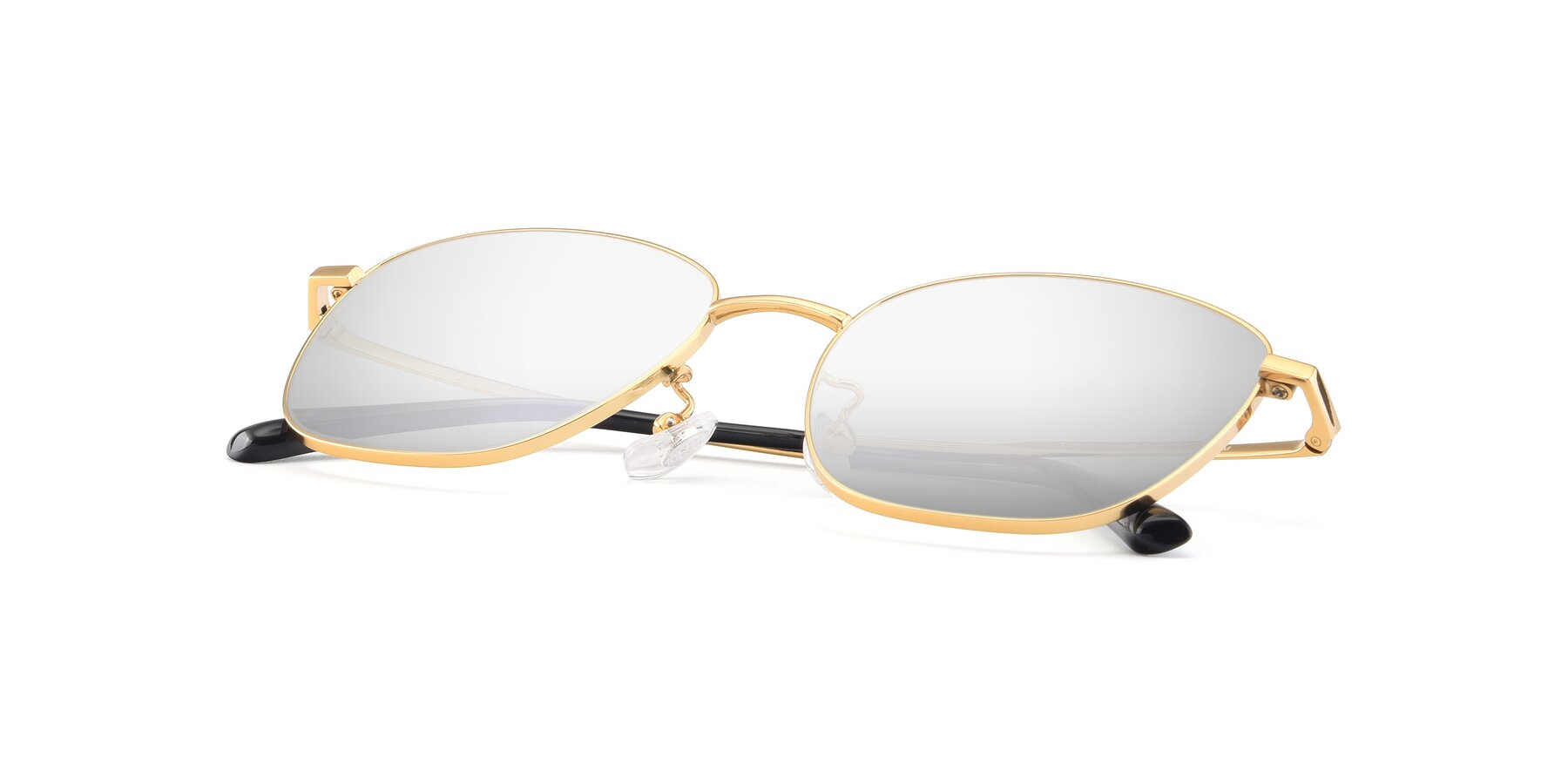 View of Tim in Gold with Silver Mirrored Lenses