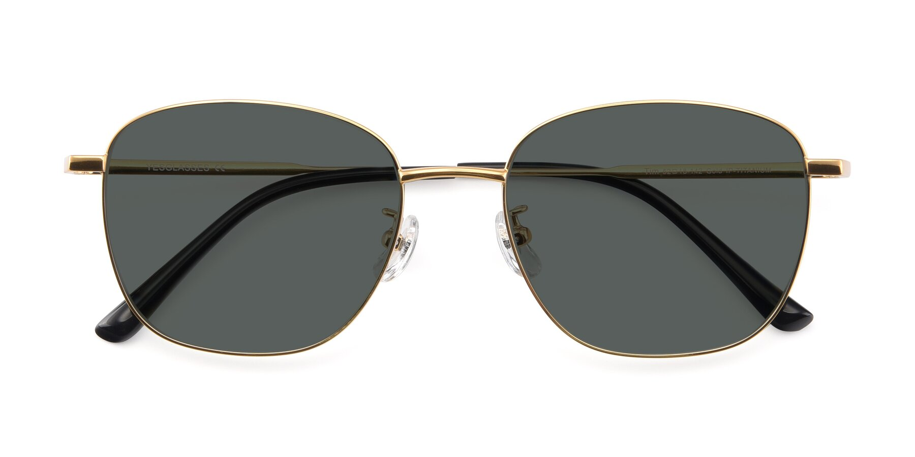 Folded Front of Tim in Gold with Gray Polarized Lenses
