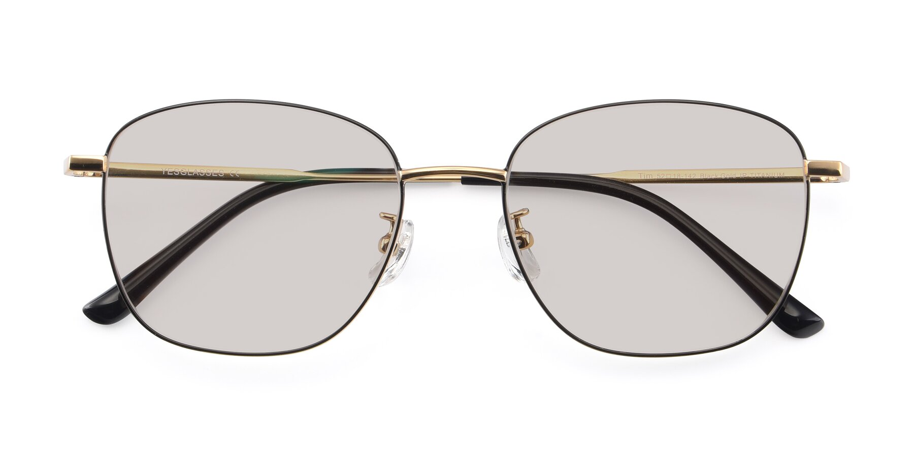 Folded Front of Tim in Black-Gold with Light Brown Tinted Lenses