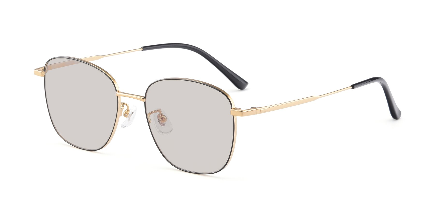 Angle of Tim in Black-Gold with Light Brown Tinted Lenses