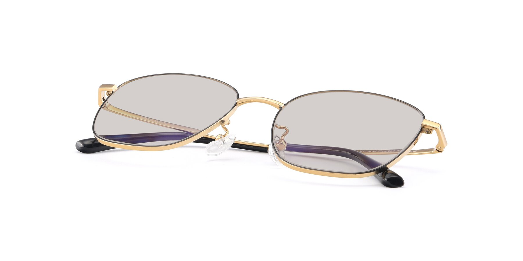 View of Tim in Black-Gold with Light Brown Tinted Lenses