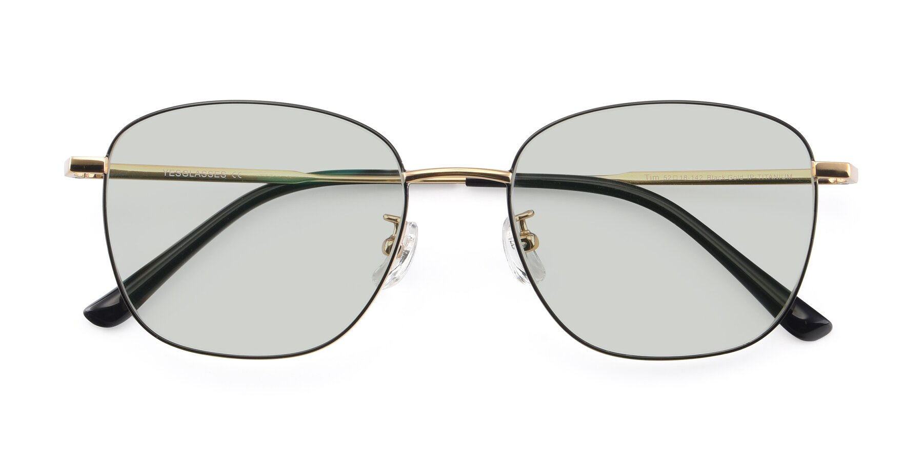 Folded Front of Tim in Black-Gold with Light Green Tinted Lenses