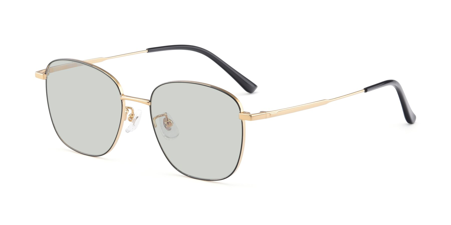 Angle of Tim in Black-Gold with Light Green Tinted Lenses