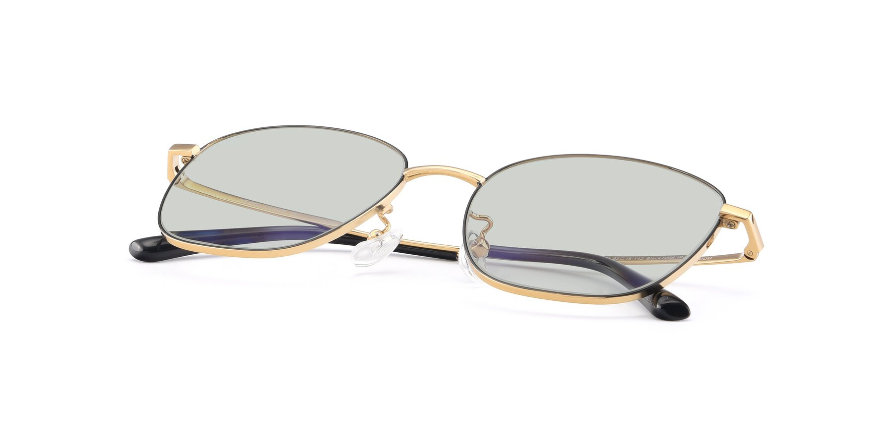 View of Tim in Black-Gold with Light Green Tinted Lenses