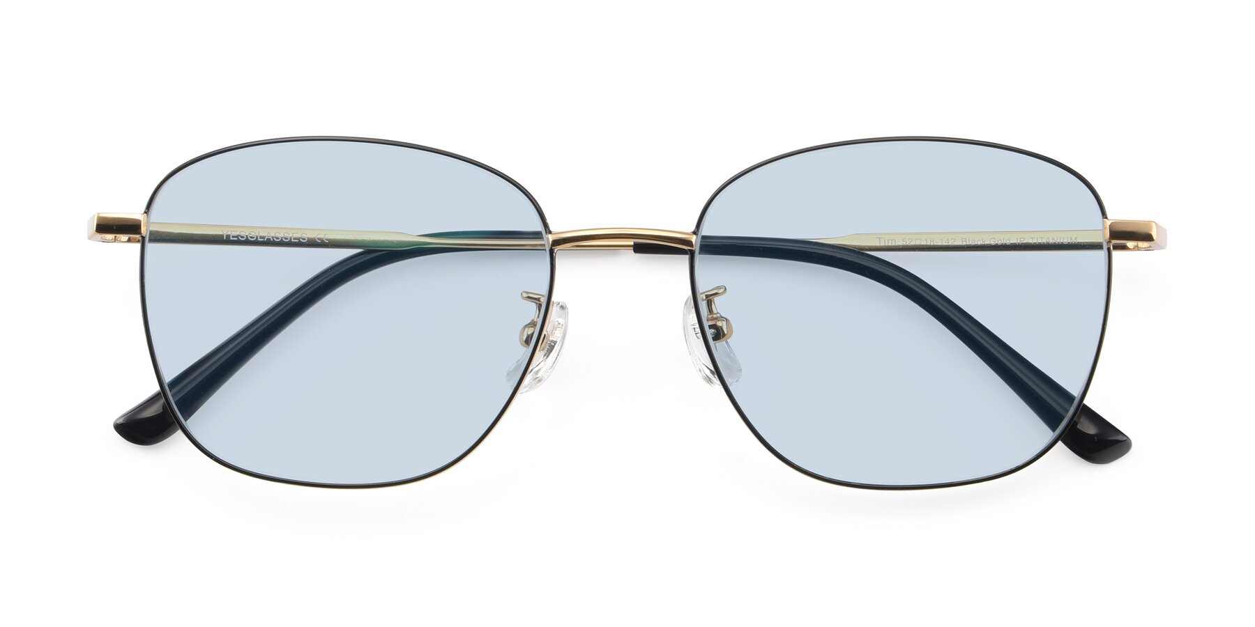 Folded Front of Tim in Black-Gold with Light Blue Tinted Lenses