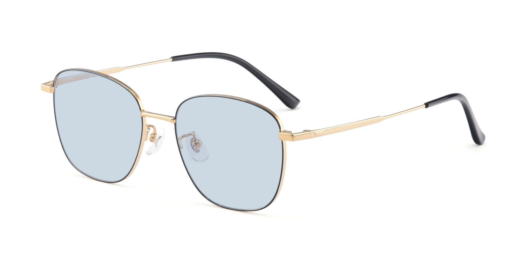 Angle of Tim in Black-Gold with Light Blue Tinted Lenses