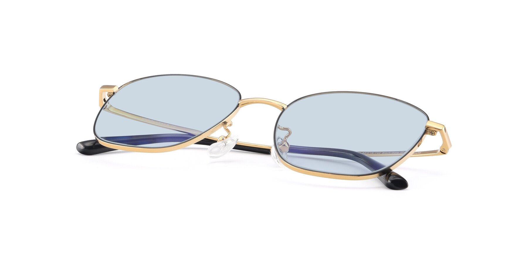 View of Tim in Black-Gold with Light Blue Tinted Lenses