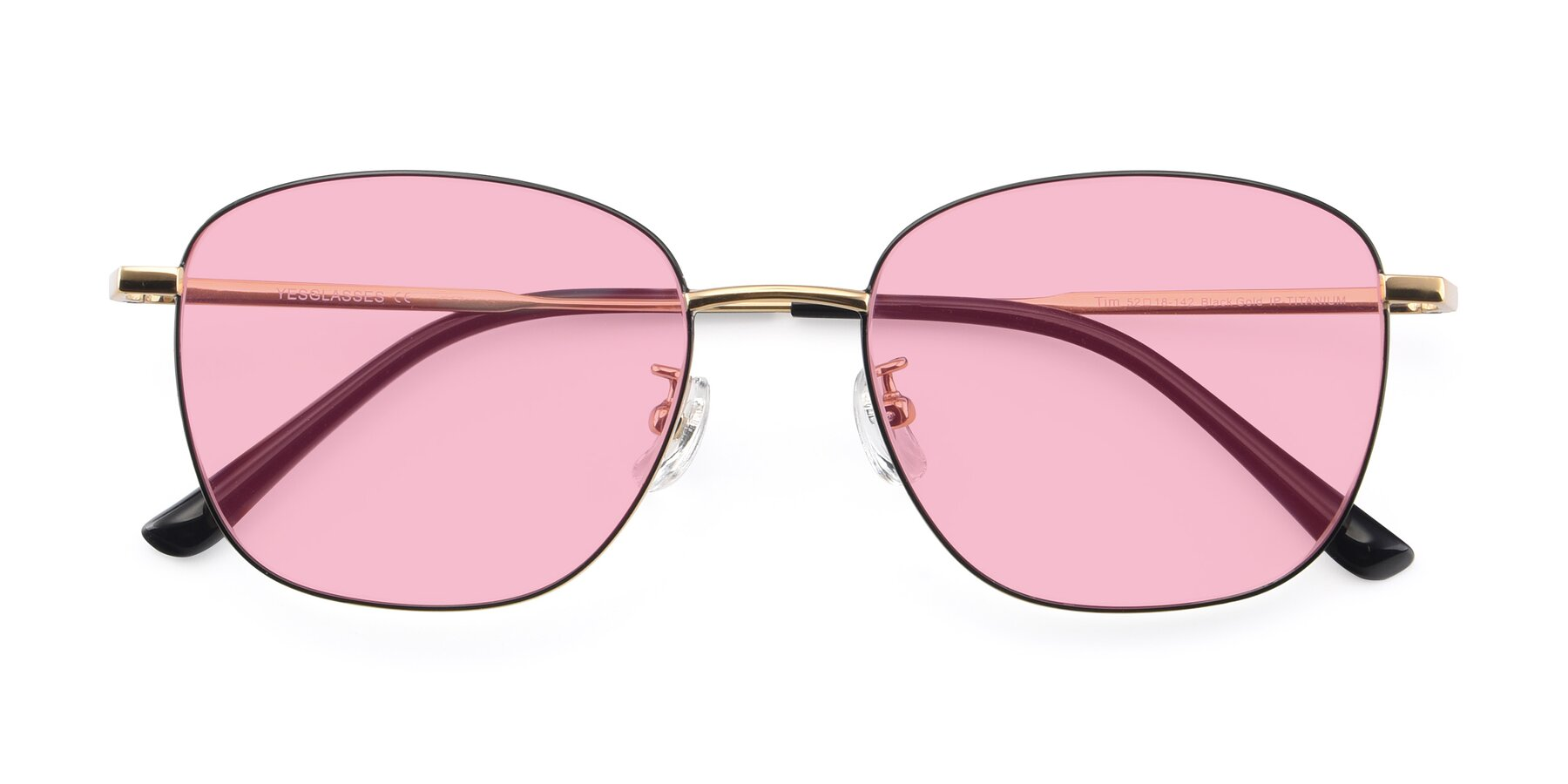Folded Front of Tim in Black-Gold with Medium Pink Tinted Lenses