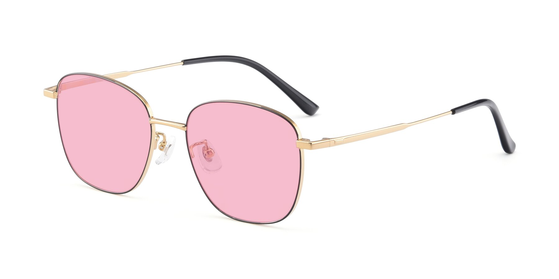 Angle of Tim in Black-Gold with Medium Pink Tinted Lenses