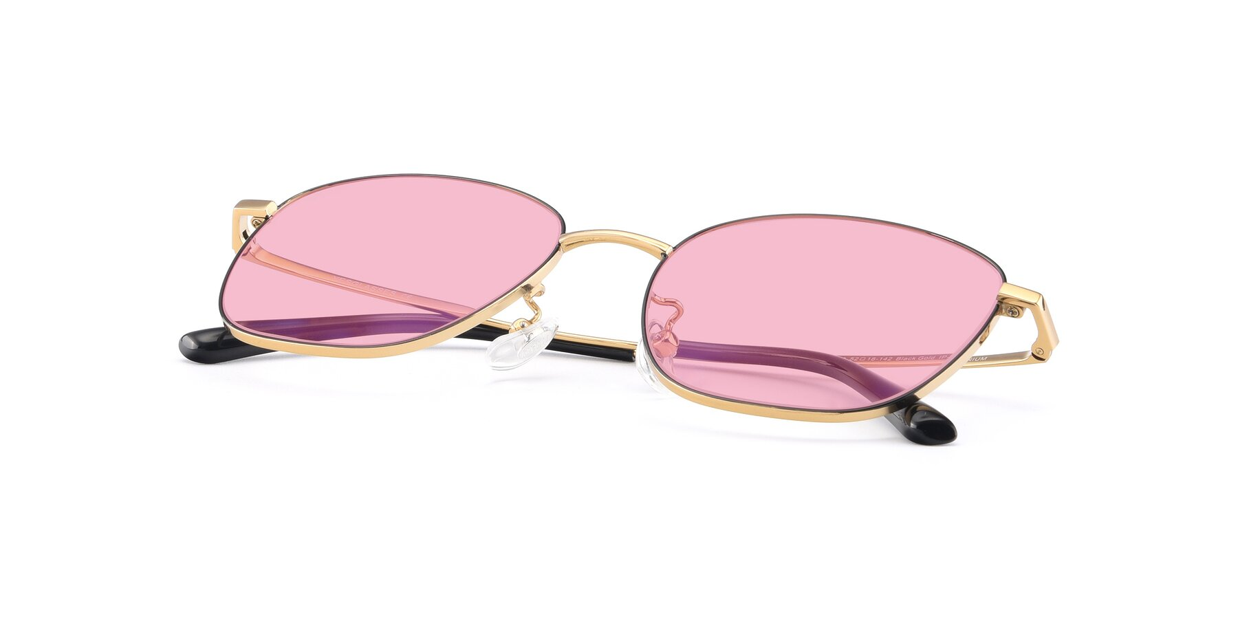 View of Tim in Black-Gold with Medium Pink Tinted Lenses