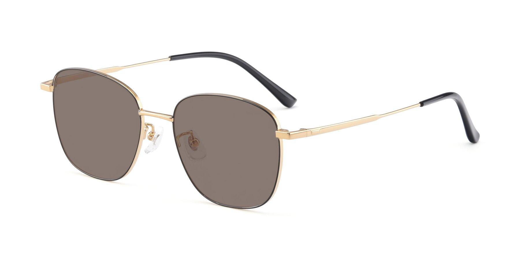 Angle of Tim in Black-Gold with Medium Brown Tinted Lenses