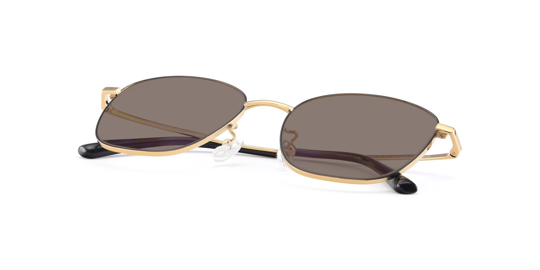 View of Tim in Black-Gold with Medium Brown Tinted Lenses