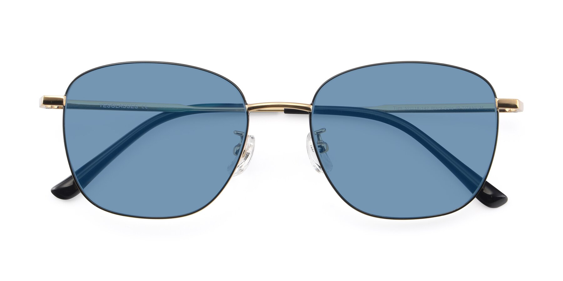 Folded Front of Tim in Black-Gold with Medium Blue Tinted Lenses