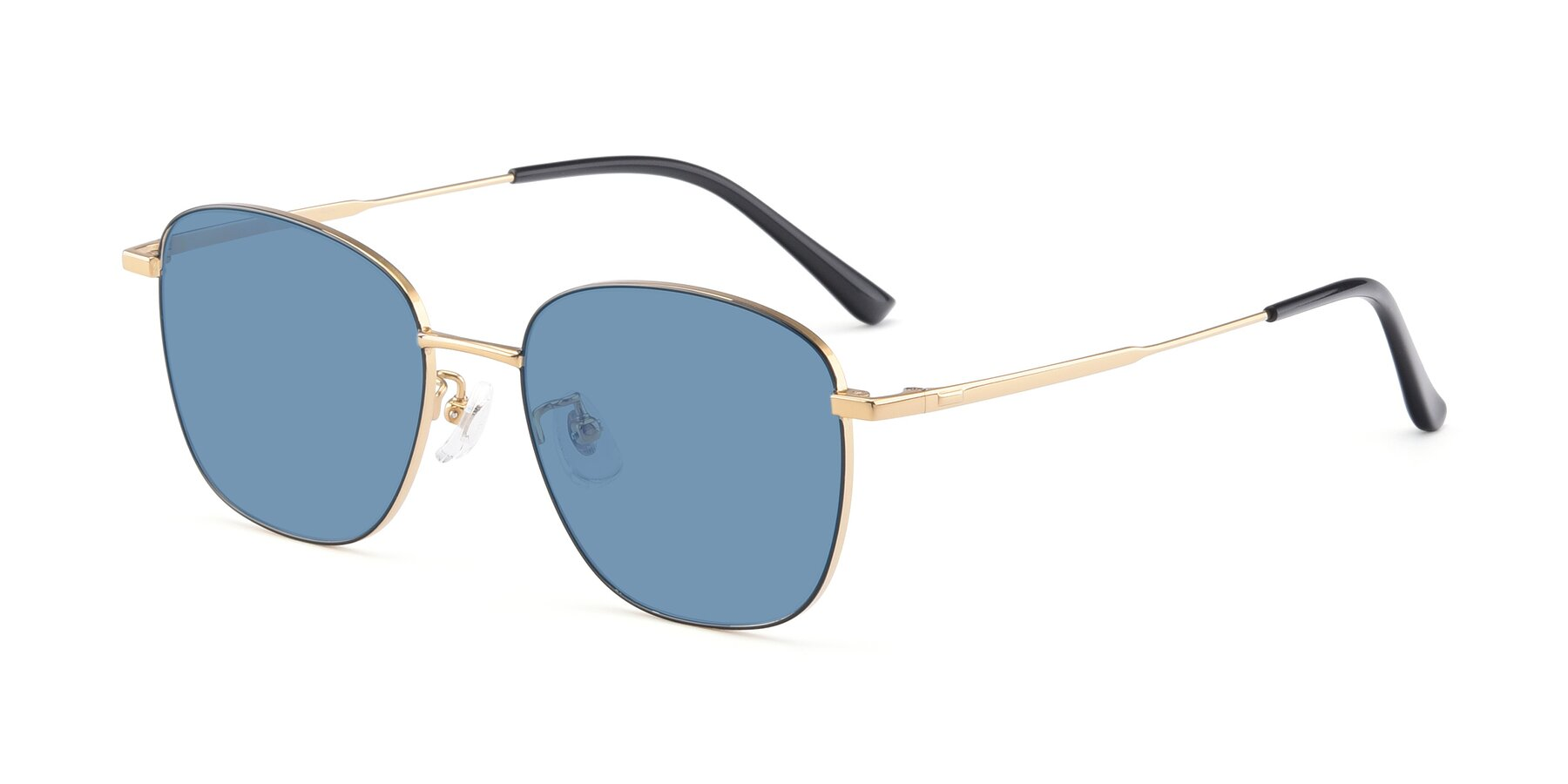 Angle of Tim in Black-Gold with Medium Blue Tinted Lenses