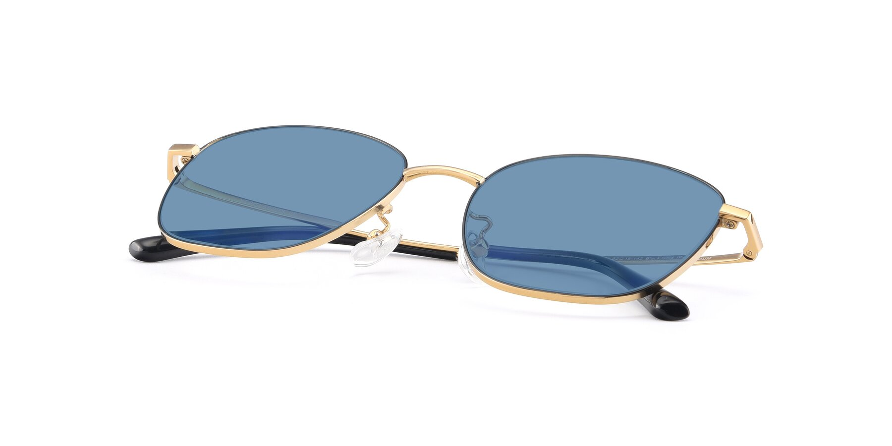 View of Tim in Black-Gold with Medium Blue Tinted Lenses