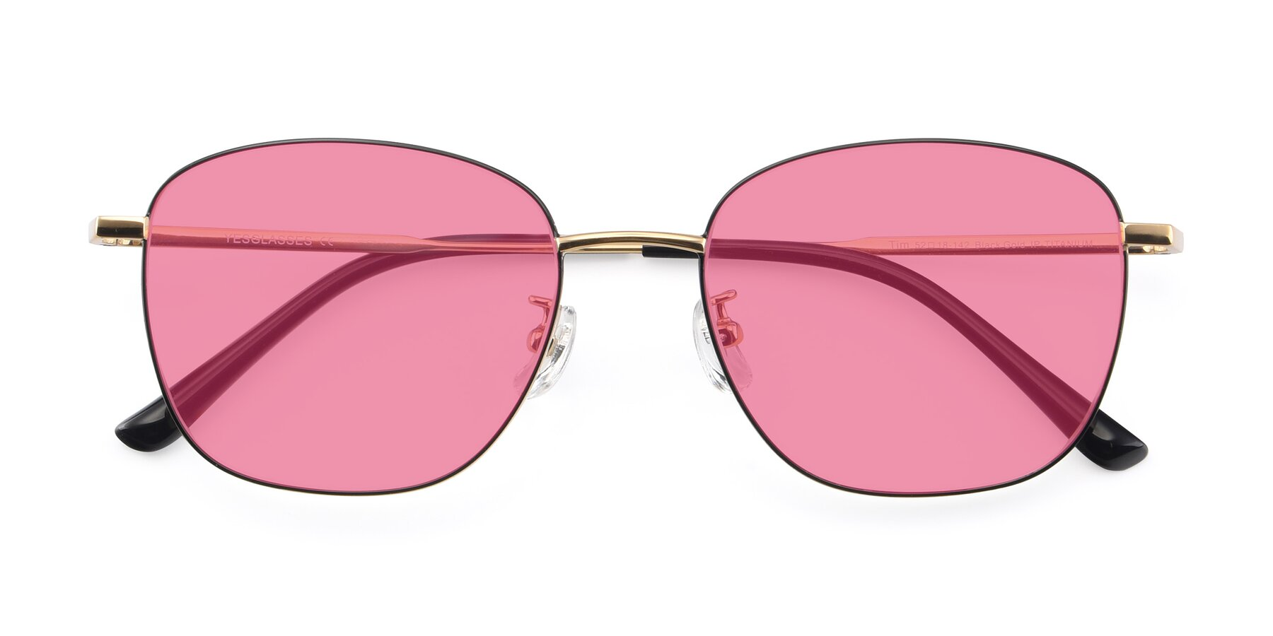 Folded Front of Tim in Black-Gold with Pink Tinted Lenses