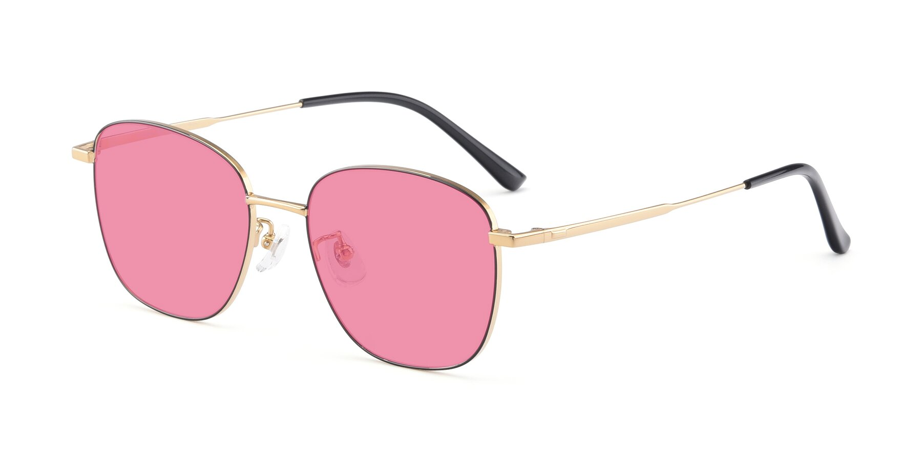 Angle of Tim in Black-Gold with Pink Tinted Lenses