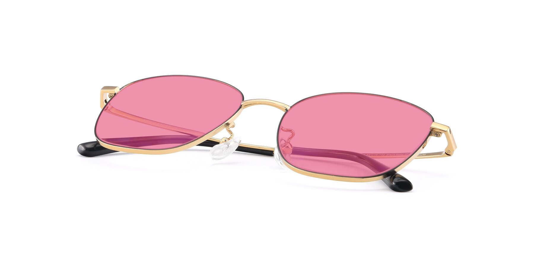 View of Tim in Black-Gold with Pink Tinted Lenses
