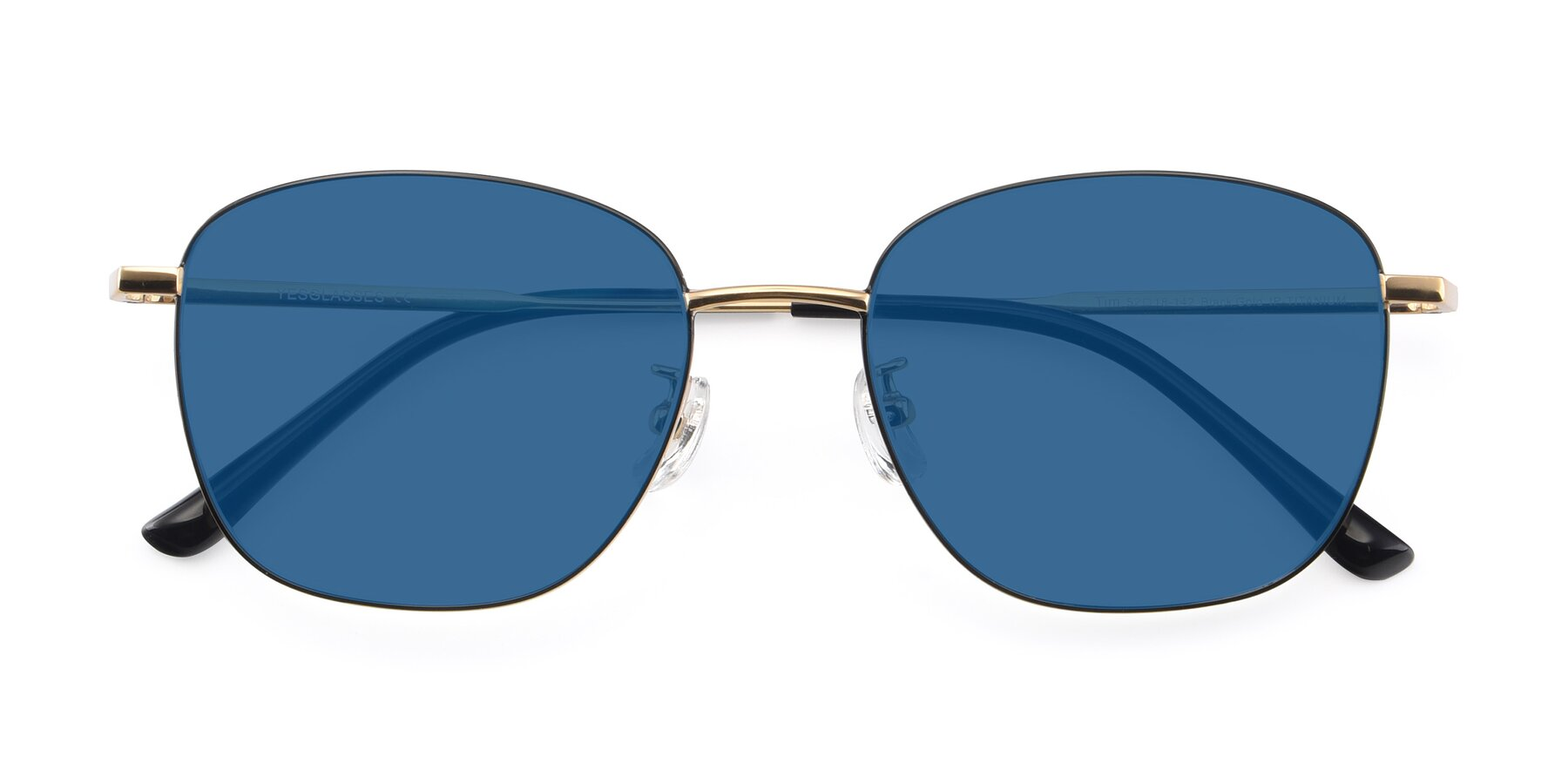 Folded Front of Tim in Black-Gold with Blue Tinted Lenses