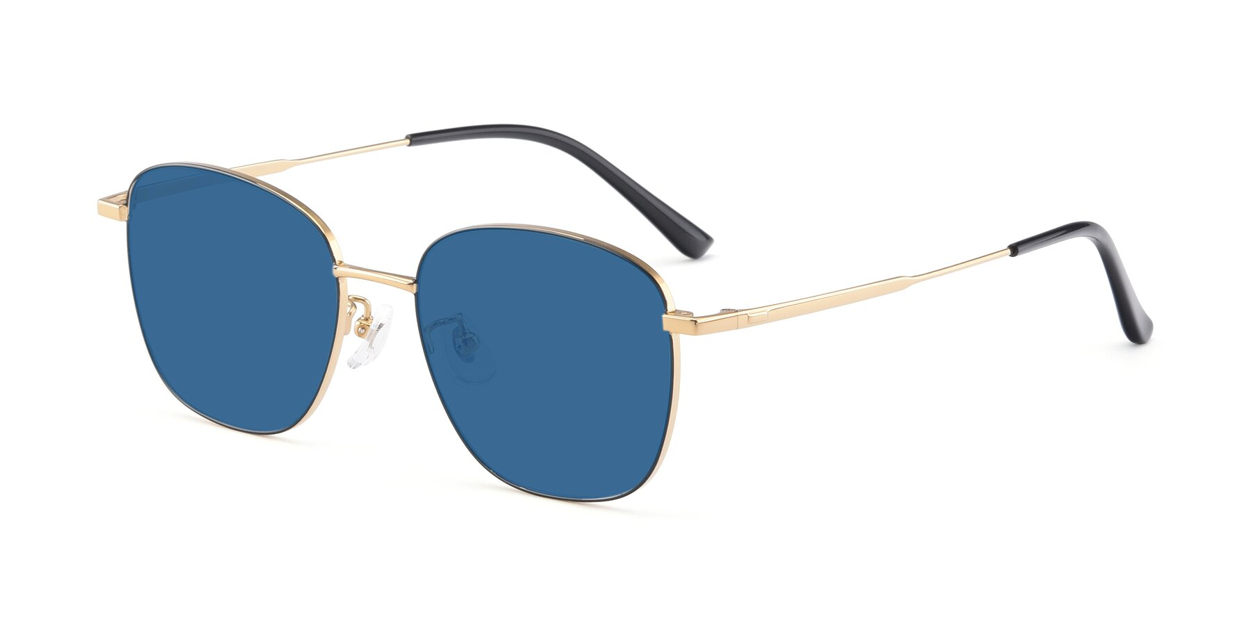 Angle of Tim in Black-Gold with Blue Tinted Lenses