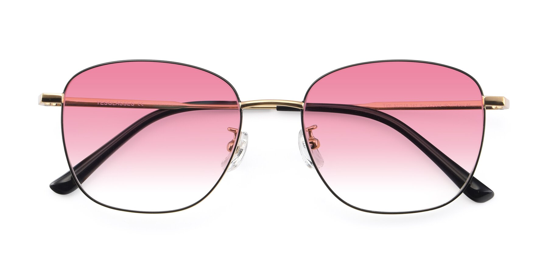 Folded Front of Tim in Black-Gold with Pink Gradient Lenses