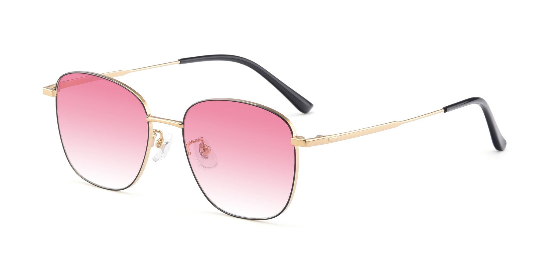 Angle of Tim in Black-Gold with Pink Gradient Lenses