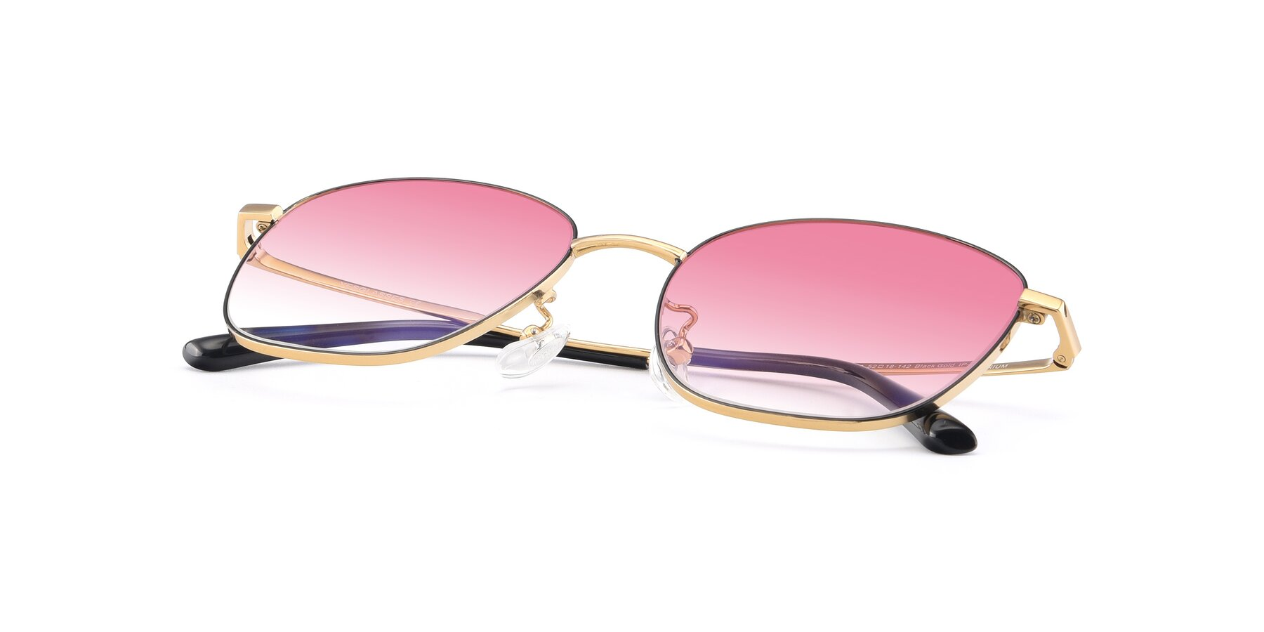 View of Tim in Black-Gold with Pink Gradient Lenses